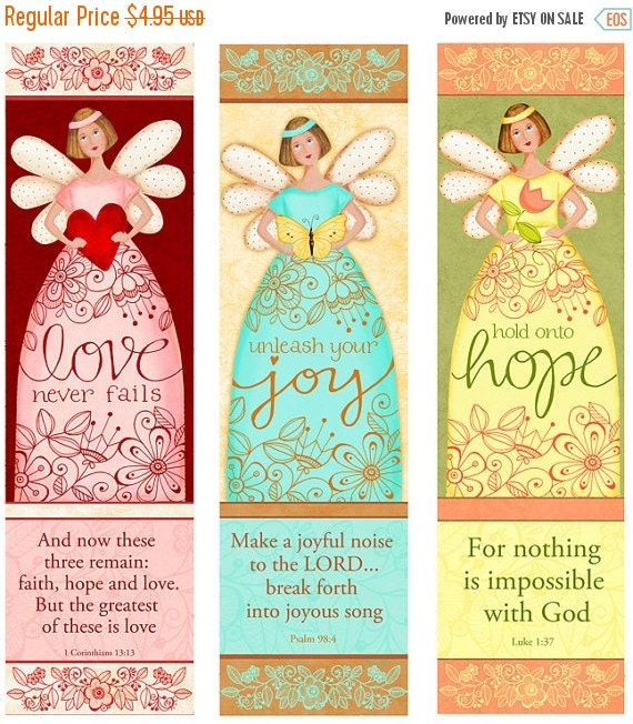 40% OFF Angelic Trio INSTANT DOWNLOAD - Love - Hope- Joy - Bible Bookmarks Digital Download Printable Clip Art and Crafting Kd128