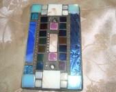 MOSAIC Light Switch Plate -  Single Switch, Shades of Blue, Wall Art