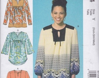 McCall's Pattern M7284 Cute Pullover Very Loose-Fitting Boho Tops with Yokes, Sleeve and Hemline Variations Misses' Sizes Xsm-Sml-Med