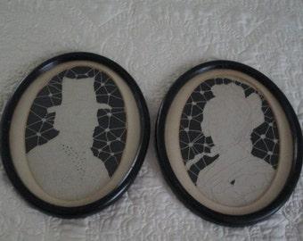 Antique Abraham and Martha Lincoln Silhouettes Fiber Art