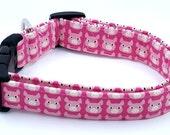 Here Piggy Piggy Pink Pigs on Pink Kokka Japanese Dog Collar
