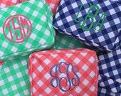 PINK gingham cosmetic bag