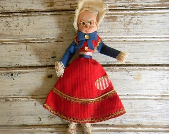 Vintage Christmas Ornament, Kitschy Christmas Decor Made in Japan Christmas Decoration, USA Patriotic Grandma Red White And Blue Mrs. Claus