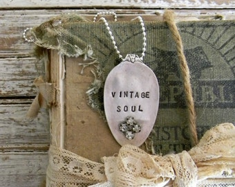 """Spoon Necklace, Stamped Spoon Necklace """"Vintage Soul"""" Spoon Jewelry, Re Purposed Silverware Jewelry, Spoon Pendant with Rhinestones, Vintage"""