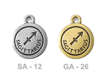 TierraCast Sagittarius Pewter Charm - choose from antique silver or gold - astrology zodiac sign - the archer - birthdays Nov 22 to Dec 21st