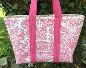 Large girly girl all pink oilcloth tote bag