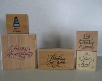 Rubber stamps wood mount various occasions