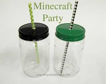 Plastic Mason Jars, 15 Minecraft Party Mason Jars with Green & Black Metal Jar Lids, Minecraft Party Favor, Minecraft Birthday, Plastic Cups