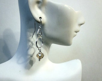 Bella's Smokey Crystal Rondelle Earrings