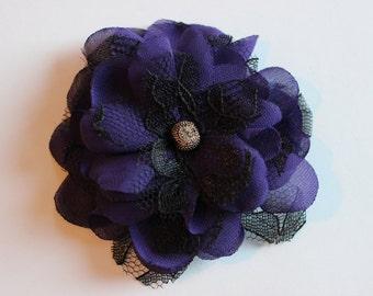 Purple Chiffon Flower Hair Clip