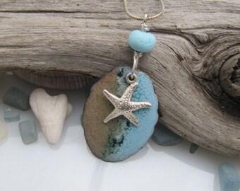 Ocean Blue Enamel Pendant Copper Enamel Jewelry Lampwork Bead