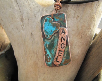 Personalized True Blue Rustic Patina Heart Pendant with Customized Name Plate