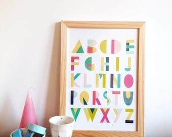 ABC Alphabet Poster for Kids Room - Alphabet poster for children, for nursery, art print for the home