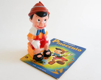 REDUCED Vintage 1970s Toy / 70s Walt Disney Pinocchio Play Plastics Bank