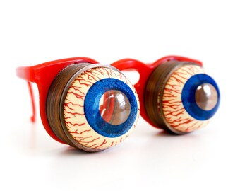 Vintage 1960s Novelty Toy / 60s Slinky Crazy Eyes Glasses / Halloween Costume Mask