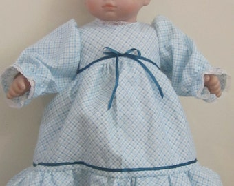 Blue and white flannel nightie, 15 inch baby doll such as Bitty Baby