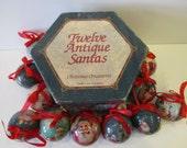 Vintage Twelve Antique Santas Christmas Ornaments C&F Enterprises 1995