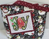 Snowman Winter Large Tote Bag Joy Holiday Purse Seasonal Shoulder Bag Ready To Ship