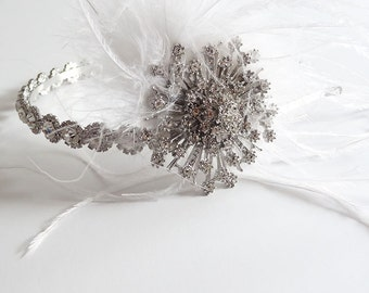 Rhinestone Headband with Starburst Accent, Feathers, Flapper Style Headpiece, Wedding Bridal Headband