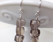 Faceted Smoky Quartz Sterling Silver dangle earrings drop dangle rondelle earwire gemstone gift giftbox handmade wire wrapped ear cube box