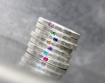 Multicolored Gemstone Stacking Rings Hammered Textured Silver Sapphire / Ruby / Paraiba Topaz / Amethyst / Tsavorite Garnet - The Dab Family