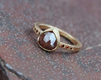 Natural Rose-Cut Diamond Engagement Ring 14K Yellow Gold Red Brown Cinnamon Rust Cognac Beaded Detail Drop Shaped Boho Tribal - Golden Henna