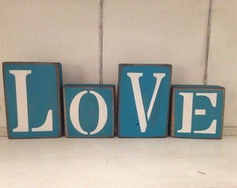 New Four Piece Love Individual Wood Sign Blocks Hand Painted Distressed Rustic Farmhouse Shabby Room Decor