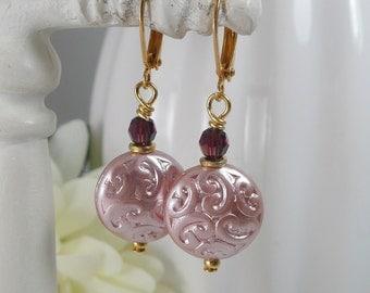 Earrings Filigree Pink Glass Coins and Burgundy Vintage Swarovski Crystals