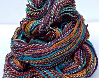 Handspun Yarn, Hand Dyed Yarn, Worsted Weight Yarn, Merino Wool Yarn - Swizzle - 2 Ply Yarn