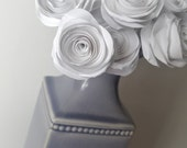 """White 1"""" Paper Roses with 12"""" wire stems. For crafts, altered art, bouquets, center pieces, & weddings PAPER FLOWERS"""