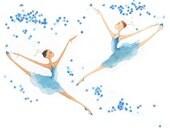 "Ballet Dance Art-The Nutcracker-Dance of Snowflakes-8""x10""Giclee Print of Original Art-2 Ballerinas Dancers in Blue-Leaping-Snow-WallArt"