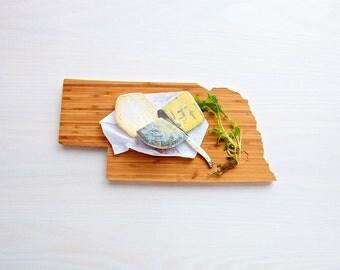 Nebraska Cutting Board 4th of july Gift Personalized engraved Nebraska cheese state shaped board