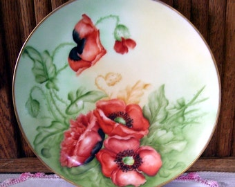 1911 JR Josephine Bavarian Hand Painted Cabinet Plate, Bavaria,  Orange Poppies, Gold Trim, Signed  March 1911 S.K., Collectors Plate