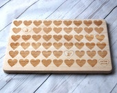 Personalised chopping board for couples & family - Custom Cutting board - Hearts - Weddings - Engagment - Anniversary