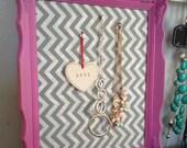 Victorian Corkboard Bright PINK Shabby Chic fabric magnetboard  jewelry holder Valentines Gift chevron