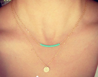 NEW - Two Necklaces - Tiny Customized Initial 9mm Disc Necklace and Tiny Turquoise Bead Bar Necklace - Gift for Her -The Lovely Raindrop