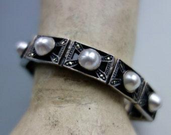 Judith Jack Marcasite Onyx Sterling Pearl Bracelet