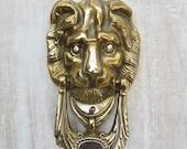 Vintage Solid Brass Lion Head Door Knocker with Rhinestone Eyes