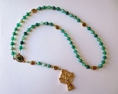 Irish themed Rosary of Green Striped Agate with Saint Patrick/ Saint Brigid Center and Celtic Crucifix