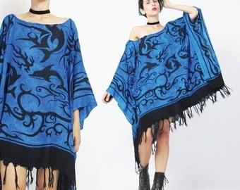 25% off SALE Slouchy Caftan Dress Seapunk Batik Beach Coverup Kaftan Dress Black Blue Tribal Print Dress Tie Dye Fringe Dress Pullover Muu M