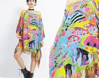 25% off SALE Rainbow Fish Caftan Dress Multi Color Neon Dress Muu Muu Caftan Top Fringe Tassel Hem Boho Beach Dress Kaftan Summer Draped Dre