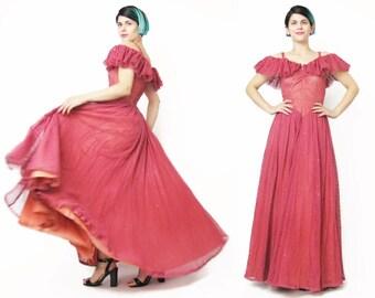 1940s Evening Gown Vintage 1940s Sequin Dress Rose Pink Ruffle Off Shoulder Maxi Dress  Fishnet Mesh Super Full Skirt War Era Dress (XS)