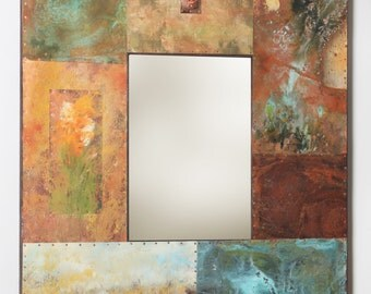 41 x 35 Metal and Copper Mirror