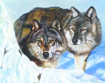There Is Only Love - wolves, wolf poster, wolf art, wolf card, wolf painting, wolf gifts, wildlife art