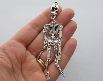 1 Skeleton charm antique silver tone HC8