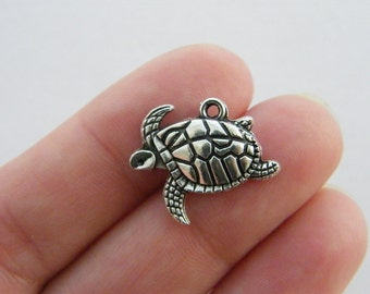 10 Turtle charms antique silver tone FF126