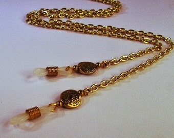 Gold chain with coin beads eye lanyard and adjustable eye grips