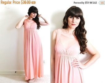 ON SALE Vintage Nightgown / 1960s Nightgown / Coral Pink Illusion Nightgown