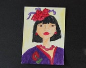 ACEO - Original Watercolor - Handpainted - Woman in Purple - Red Hat - Red Flower - Red Beads