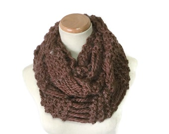 Brown Infinity Scarf, Knit Scarf, Loop Scarf, Circle Scarf, Knit Cowl, Knit Infinity Scarf, Gift For Her, Womens Scarf